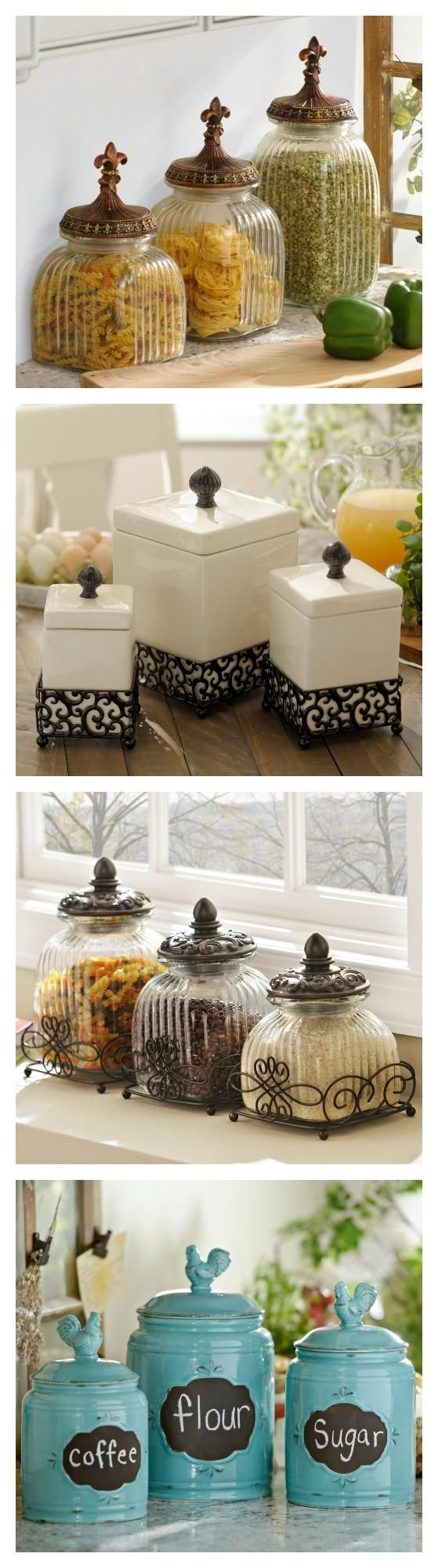 Clean up your kitchen counters with Kirkland's canister sets. They are available in all sizes, shapes and styles!