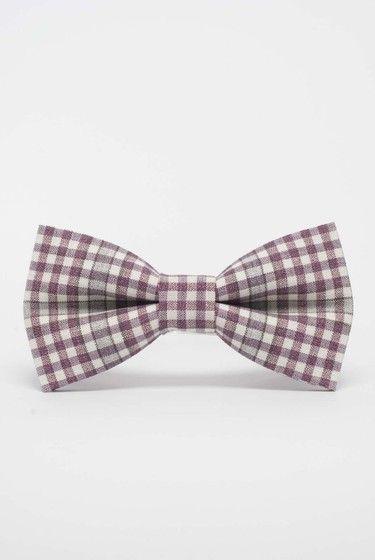 Mucha męska - kratka - jasny fiolet / pink-violet bow tie for men / DaWanda