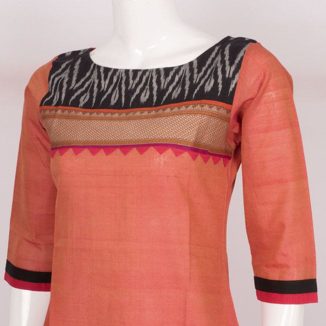 Hand Crafted Orange Cotton Kurta With Ikat Block Prints & 3/4th Sleeve 10013632 - profilecloseup - AVISHYA.COM