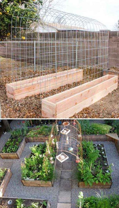 If you are planning to plant cucumbers, melons, and beans in your garden, you can build a trellis and raised garden box combo to let them get support at some point.
