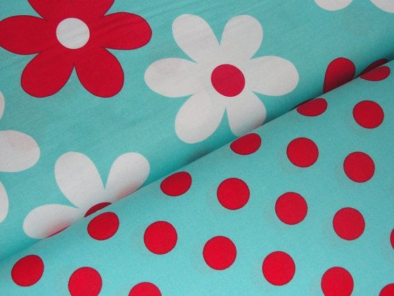 Michael Miller Fabric  Turquoise & Red