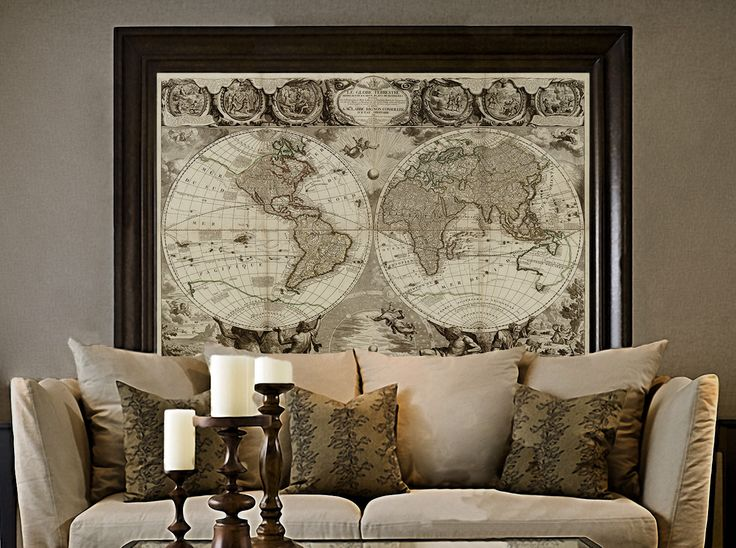 Old World Map Baptiste 1708 Historic Map Antique Restoration Hardware Style World Map Jean Baptiste Nolin Le Globe Terrestre Wall Map Decor by VintageImageryX on Etsy https://www.etsy.com/nz/listing/260028712/old-world-map-baptiste-1708-historic-map