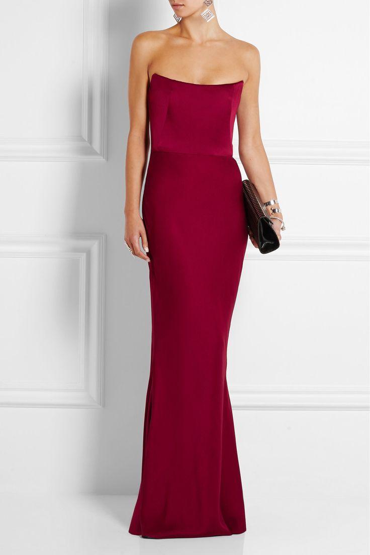 Alexander McQueen Strapless satin gown NET-A-PORTER.COM.  Beautiful column dress