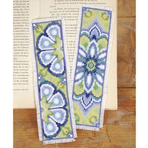 "Blue Medallion Bookmark Set  BLUE MEDALLION BOOKMARKS, a beautiful set to mark your page or give as a gift. Counted cross stitch kit includes 14-count white Aida cloth, presorted DMC cotton floss, needle, chart and instructions. Set of two, each 2 1/2"" x 8"". Imported from Belgium. A Stitchery exclusive!	      ****   Blue Medallion Bookmark Set  Item #: T22326  Price: $18.99"