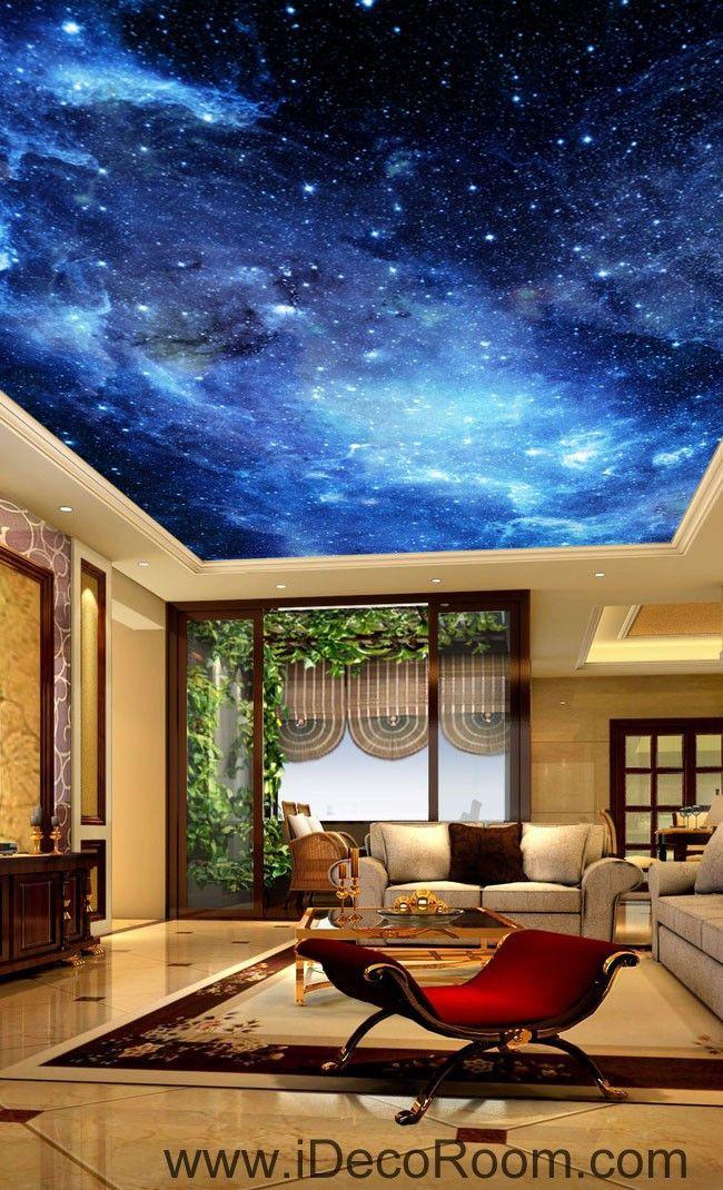 Galaxy Stars Night Sky 00075 Ceiling Wall Mural Wall paper Decal Wall Art  Print Decor Kids