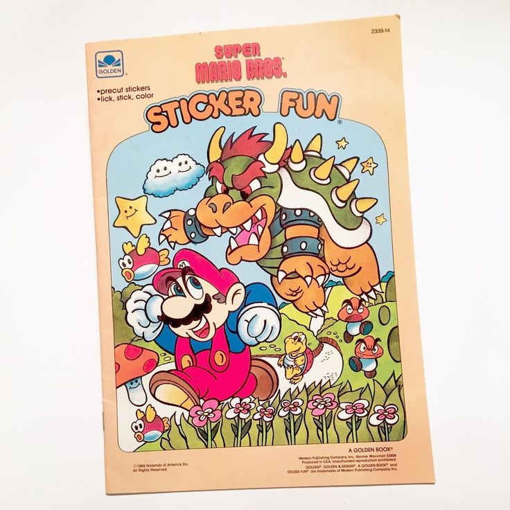 Vintage super mario bros nintendo sticker fun golden book 1989 video games consoles