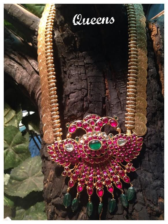 Gold#coin#haaram#pink stone#gree stone#emphisis# www.shopzters.com