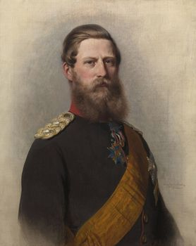 """Oil Painting by Franz Xaver Winterhalter in 1867 of Emperor Frederick III """"Fritz"""" (Friedrich Wilhelm Nikolaus Karl) (18 Oct 1831-15 Jun 1888) Germany in Parade Uniform in 1888.  Husband of Empress Victoria """"Vicky"""" (Victoria Adelaide Mary Louisa) (21 Nov 1840–5 Aug 1901) UK, daughter of Queen Victoria & Prince Albert. It's inscribed on the back with the date of their marriage, 25 Jan 1858. Vicky's will in 1898 left it to her brother Edward VII, then Prince of Wales."""