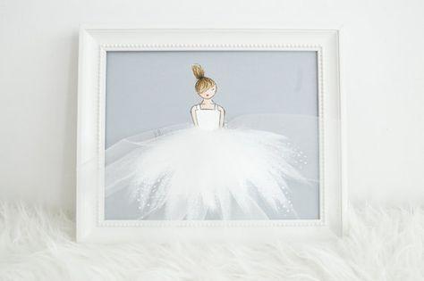 Little princess in white tutu - grey background, nursery, nursery artwork, baby shower baby room, girls room, pink room