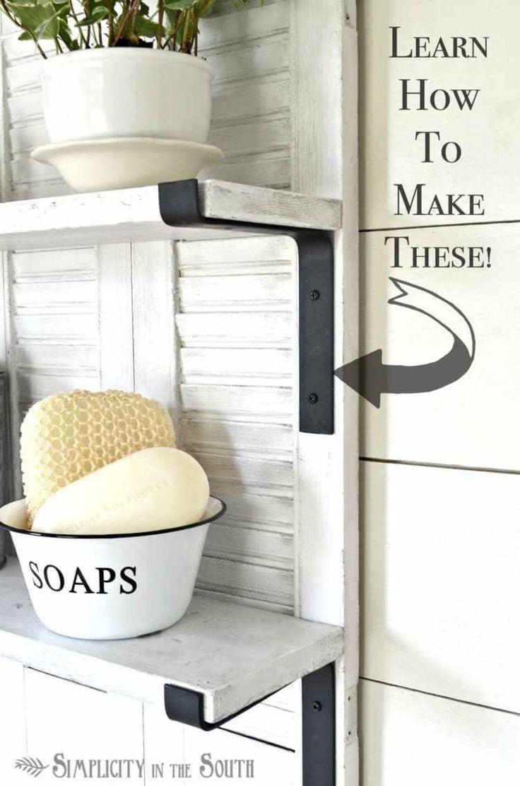 Knock Off Ballard Designs Repurposed Shutters Bathroom Shelf