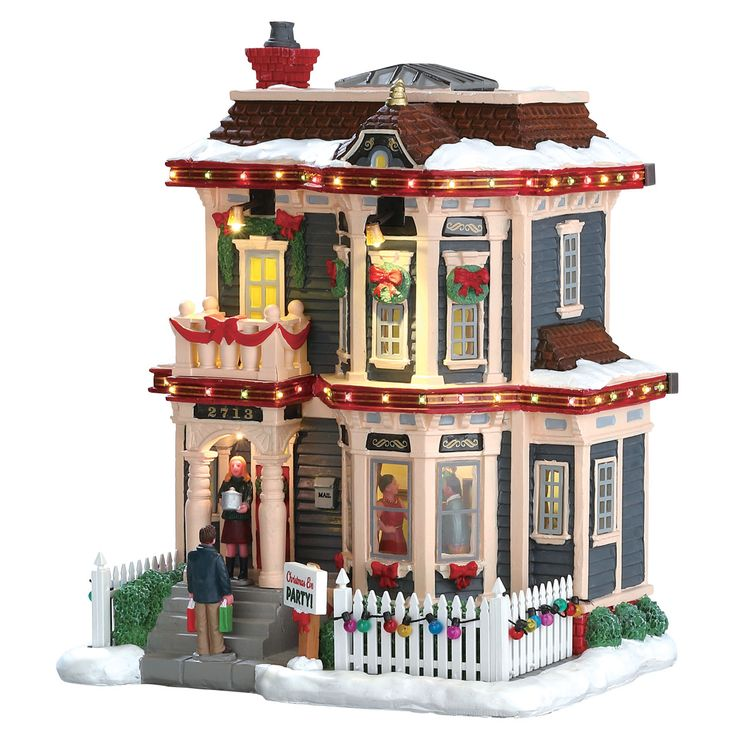 Lemax Christmas Eve Party.  SKU# 75193.  Released in 2017 as a Caddington Porcelain Lighted Building.