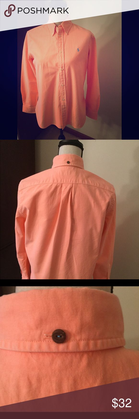 Ralph Lauren Ladies Shirt -size Medium 🎀💞Ralph Lauren Ladies Size Medium Shirt Like New💕gorgeous coral color. Perfect for Spring and Summer and pairs nicely with white slacks🎀💞 Ralph Lauren Tops Blouses