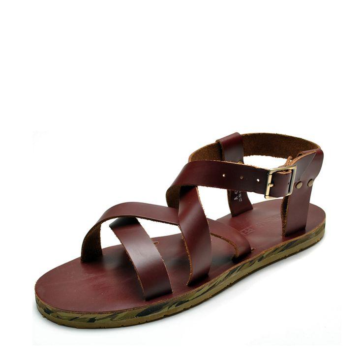 Nuovi uomini maschio sandali di cuoio genuino open toe traspirante roma gladiatore piatto sandali degli uomini infradito scarpe estive(China (Mainland))