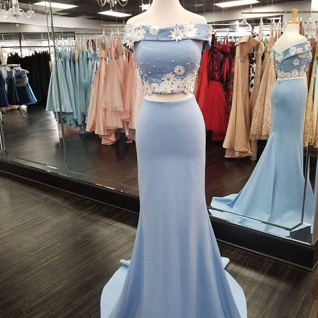 Charming Prom Dress, Blue Evening Dress, Sexy Long