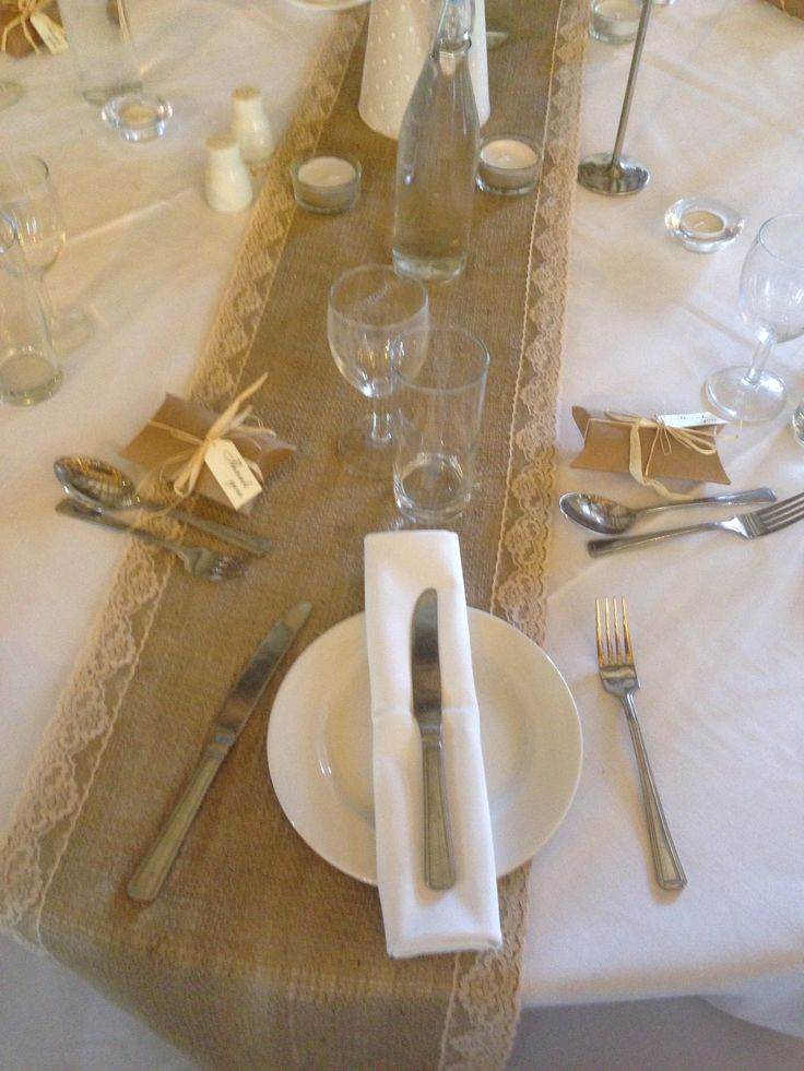 Hessian with lace edge table runners from Simply Bows and Chair Covers Berkshire