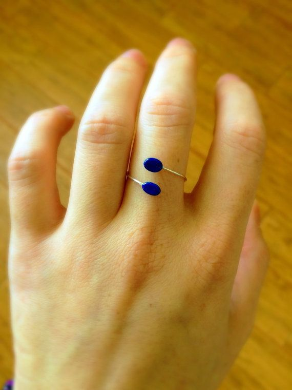Lapis Lazuli Open Ring Sterling Silver Ring Made by DanusHandmade