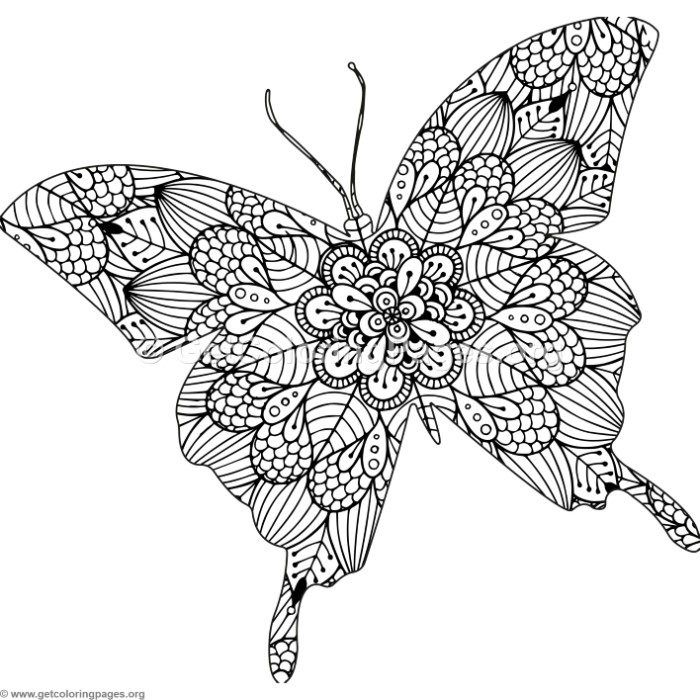 Free Instant Download Zentangle Butterfly Coloring Pages Coloring