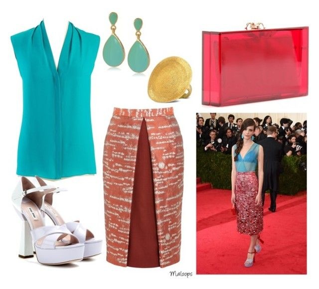 """Steal the style: Stacy Martin"" by maloops ❤ liked on Polyvore featuring Elie Tahari, GALA, Kenneth Jay Lane, Miu Miu, Alexander Lewis, Stefano Patriarchi, Charlotte Olympia, sandals, turquoise and pencilskirt"