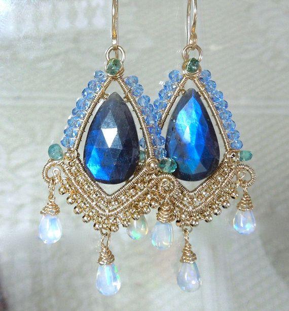 Labradorite blue flash Ethiopian opal Columbian emerald
