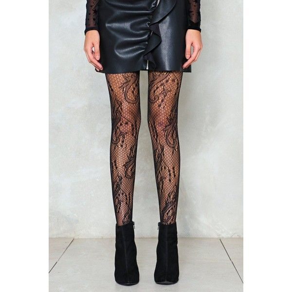 Nasty Gal Net Your Business Pattern Fishnet Tights ($8) ❤ liked on Polyvore featuring intimates, hosiery, tights, black, patterned hosiery, patterned fishnet tights, fishnet tights, patterned tights and net stockings