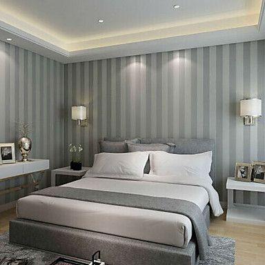 ny rainbown ™ samtida tapeter rand grå band randig tapet väggbeklädnad fiberduk väggkonst – SEK Kr. 334