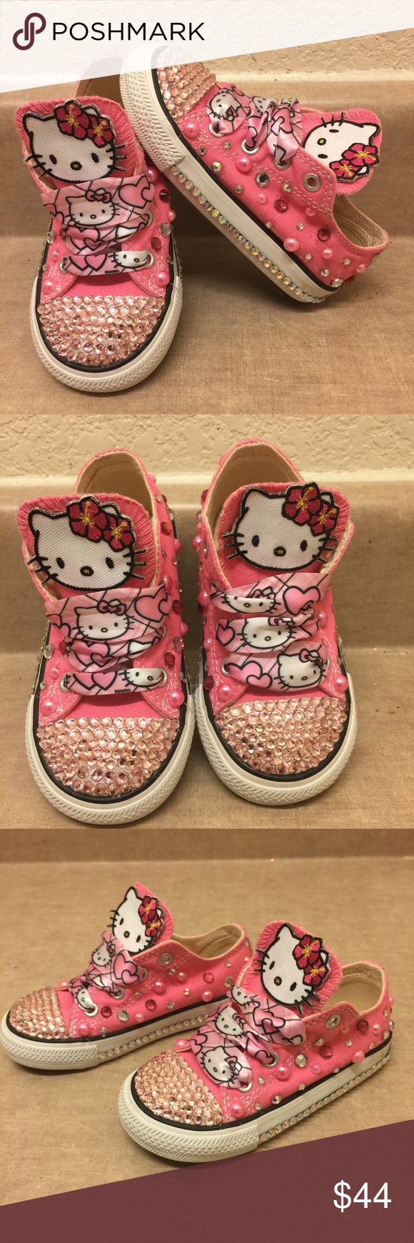 💕Toddlers Hello Kitty Converse💕 These Custom made Hello Kitty converse are adorable for little girls to wear on there birthday with diamonds and pearls on them that bling! these shoes are great for a birthday gift! Very blingy so cute!! 👍🏾 Brand new never worn..Last pair Converse Shoes Sneakers