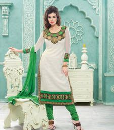 Buy White embroidered Georgette unstitched salwar pakistani-salwar-kameez online