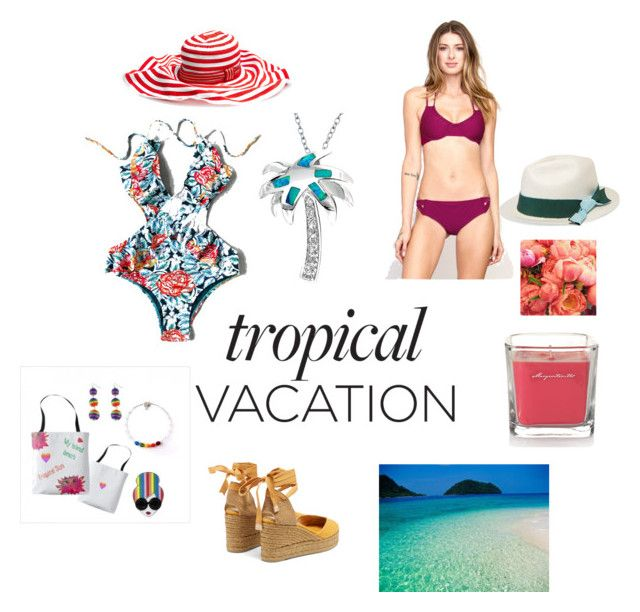 """""""Tropical Vacation"""" by mkadric ❤ liked on Polyvore featuring RVCA, Missoni Mare, Castañer, Bling Jewelry, Yankee Candle, Sensi Studio and Ultimate"""