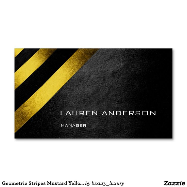 Geometric Stripes Mustard Yellow Black Vip Pack Of Standard Business Cards