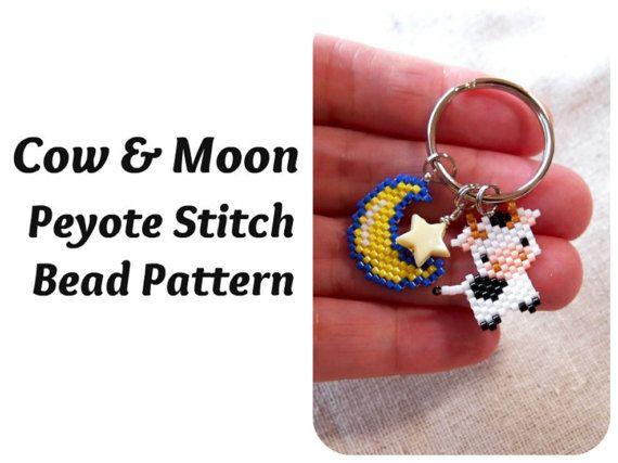 Cow & Moon Beading Patterns Peyote Stitch Nursery door BeadCrumbs