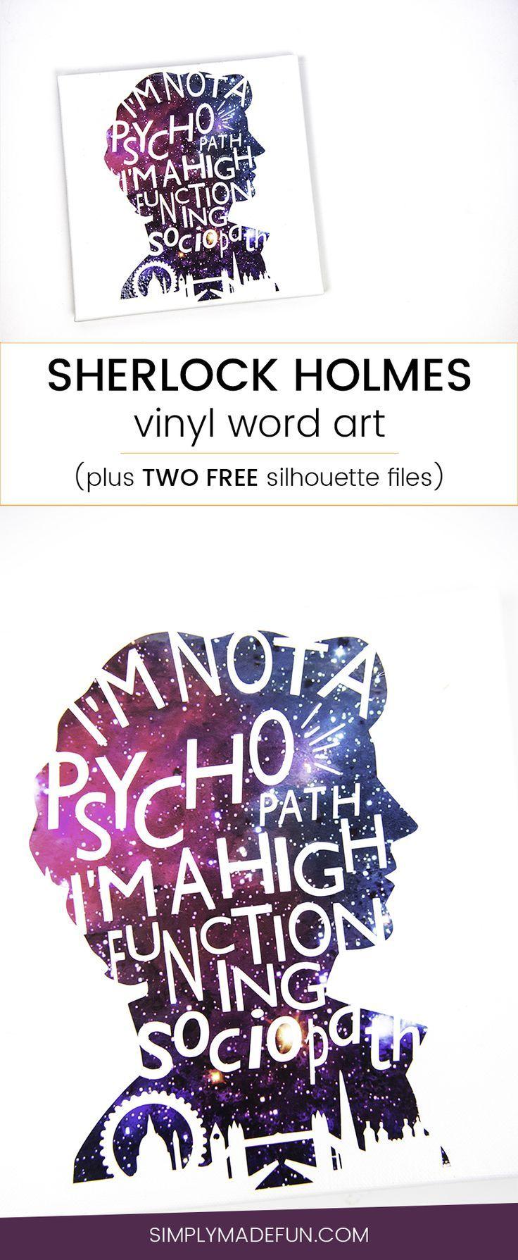 Sherlock Holmes Word Art   Sherlock   Sherlock Holmes Crafts   Silhouette Cameo Crafts   Word Art   Vinyl Crafts   Sherlock Craft