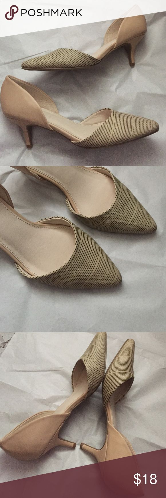 D Orsay pumps! NWOT Classy D Orsay pumps! So great! Cream with black stripes on the front! Size 7.5  new without tags! Never worn! Matches everything almost! 2.5 inch heel! Cato Shoes Heels