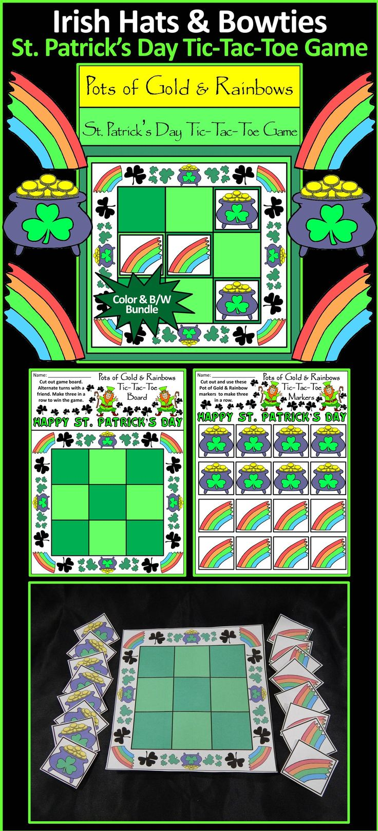 Leprechaun Pots of Gold & Rainbows St. Patrick's Day Tic-Tac-Toe Game: Contains all the necessary components for playing the classic game. All pieces are decorated with Leprechaun Pots of Gold & Rainbows for a rollicking Irish celebration! Great fun as a St. Patrick's Day game or party favor!  #St. #Saint #Patrick's #Day #Leprechaun #Gold #Rainbow #Party #Game #Activities #Teacherspayteachers