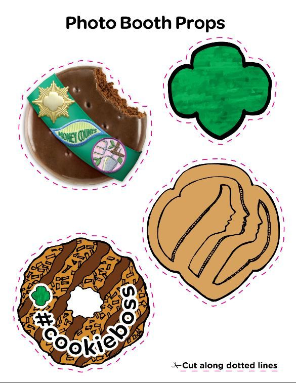 Girl Scout Cookie photo props. Perfect for National Girl Scout Cookie Weekend booth sales -- Feb. 27 - March 1. Ask your customers if they want to pose with their cookies and these cute signs. #cookieboss