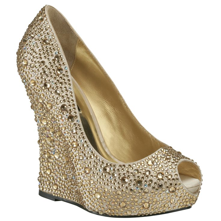 Benjamin Adams Cali Gold Wedge Evening Shoes - Bridal Jewellery - Crystal Bridal Accessories