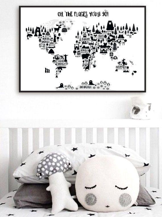 Animal World Map Print Monochrome Nursery World Map Oh The