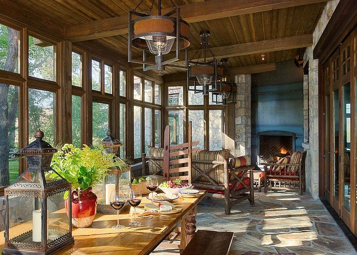 17 best ideas about rustic sunroom on pinterest hard for Rustic dining area