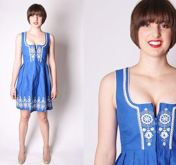 Dirndl Austrian Oktoberfest Folk Dress / Vintage Blue by aiseirigh, $128.00