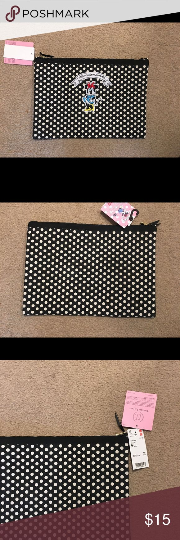 Minnie Mouse Bag Brand new! Brand? Uniqlo  good quality, durable, and can fit a MacBook Air 11 inch  perfect for using as a cosmetic bag or  traveling bag to fix your underwear or shirts! Uniqlo Bags Cosmetic Bags & Cases