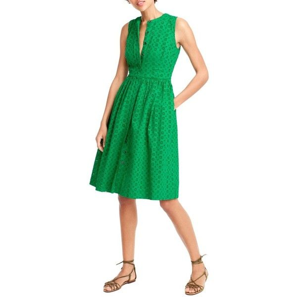 Women's J.crew Eyelet Lace Dress ($98) ❤ liked on Polyvore featuring dresses, petite, warm clover, petite dresses, going out dresses, clover dress, green color dress and j crew dresses