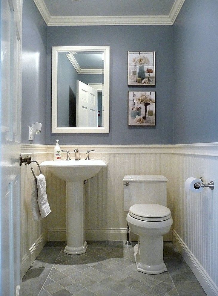 Kohler devonshire toilet powder room traditional with beadboard paneling blue bathroom - Small half bathroom tile ideas ...