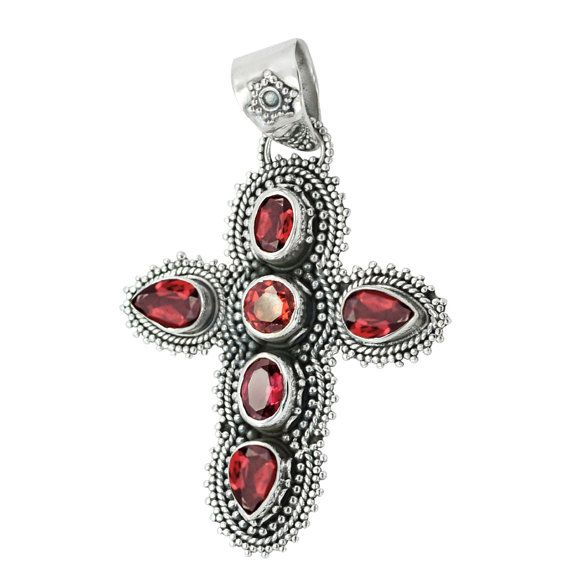 Get 25% discount Coupon-SUM15 Last 2 days  Cross 925 Solid Sterling Silver Pendant Garnet by DevmuktiJewels