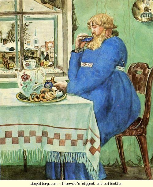 Boris Kustodiyev. Coachman at the Traktir (Pub). Olga's Gallery.
