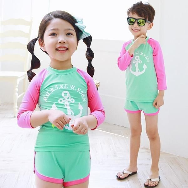 Swimsuit Rose Long Sleeves Two Pieces Child Girls Bathing Suit Children Swimwear