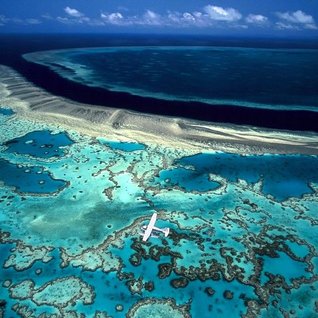 Photo by @daviddoubilet A float plane carrying scuba divers  soars across Hook and Hardy Reef on the Great Barrier Reef Australia, the worlds largest and iconic coral reef system. The #GreatBarrierReef stretches 1400 miles off #Australia #Queensland Coast. It is the largest single formation created by a living organism: the coral polyp.