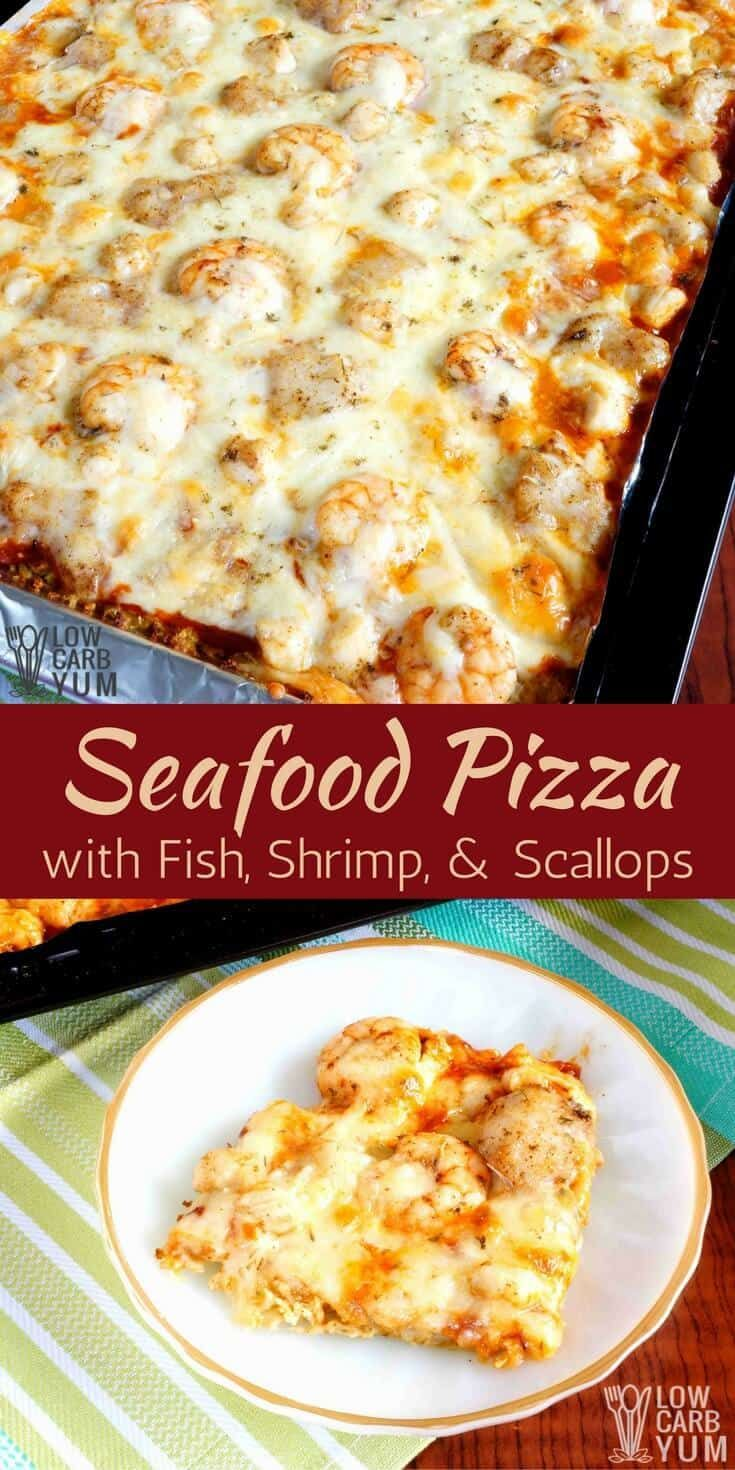 An easy to make cauliflower sheet pan pizza with fish, scallops, and shrimp. It's a seafood lover's delight and perfect for Lenten Fridays. #keto #lowcarb #ketorecipe #seafood | LowCarbYum.com via @lowcarbyum