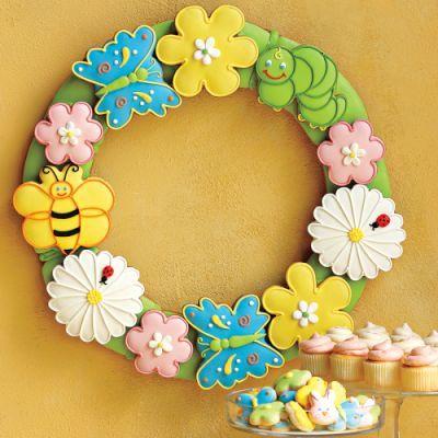 Easter cookie wreath: Sugar Cookies, Gifts Ideas, Summer Sale, Decor Cookies, Spring Wreaths, Easter Cookies, Spring Cookies, Flowers Cookies, Cookies Wreaths