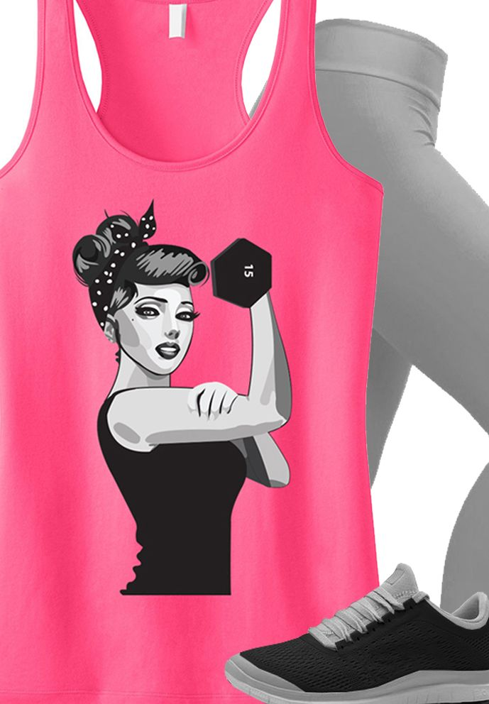 Motivate with some cute new #Workout Clothes! Pink MODERN ROSIE THE RIVETER tank top by NoBull Woman. Click here to buy http://nobullwoman-apparel.com/collections/fitness-tanks-workout-shirts/products/modern-rosie-the-riveter-workout-tank-top-pink