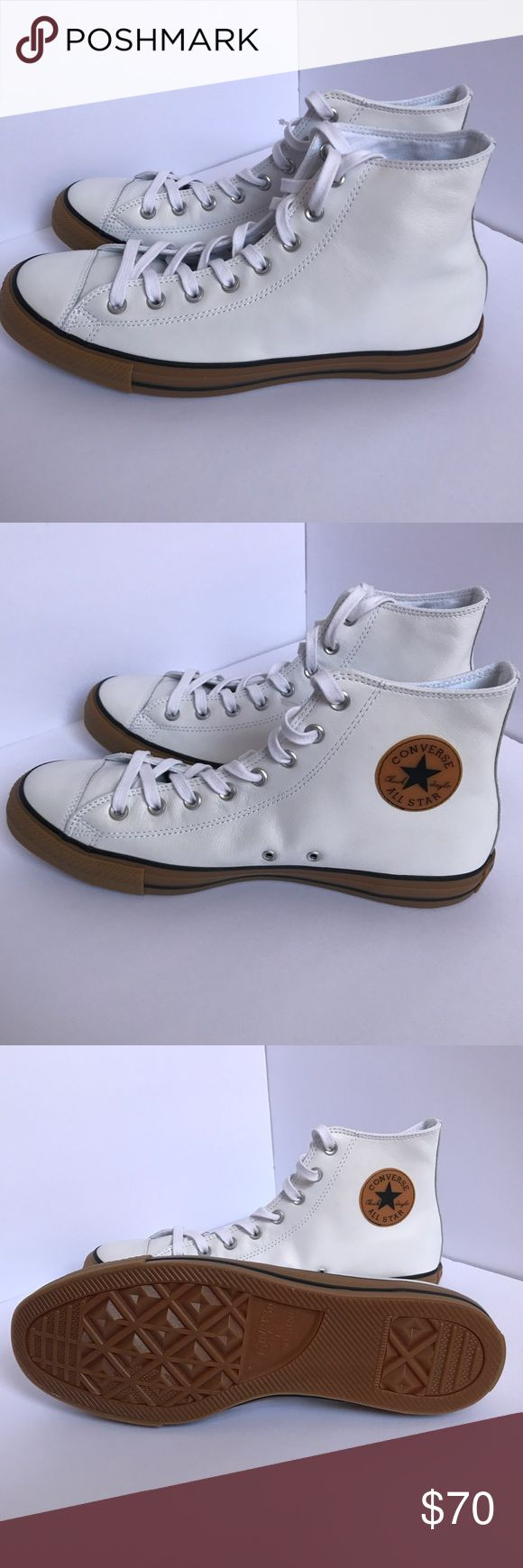 Leather hi top converse Chuck Taylor Brand new leather chucks, size 11 Converse Shoes Sneakers