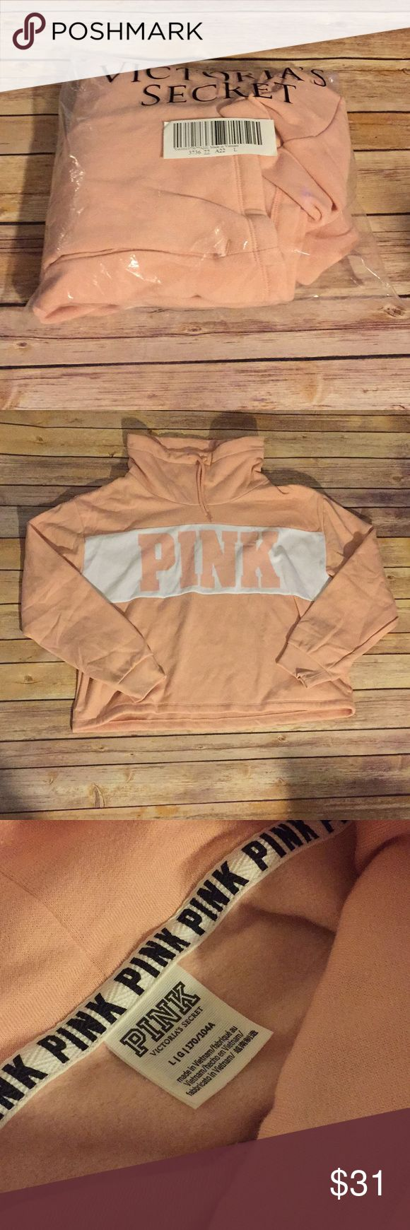 NWT Victoria's Secret PINK Mock Cowl Neck Pullover Brand new. Only removed from packaging for photos and then replaced. Actual tags were not attached because it was ordered online. No longer available online or in store.  👜Submit a bundle for a private offer! 👜.       🚫Smoke free, pet free home. No trades. 🚫 PINK Victoria's Secret Tops Sweatshirts & Hoodies